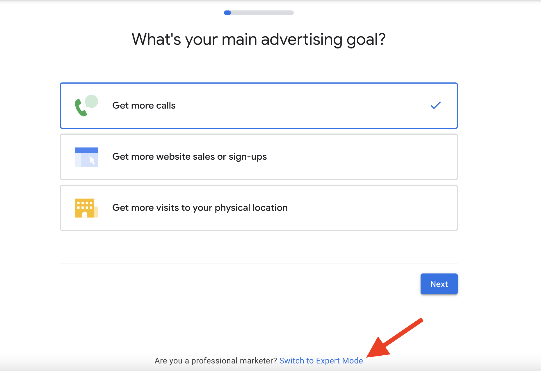 1 Switch to expert mode for your Google ads for dentists campaign