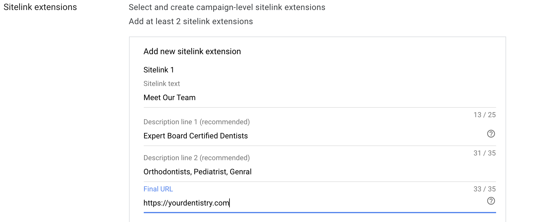 12 Creating sitelink extensions