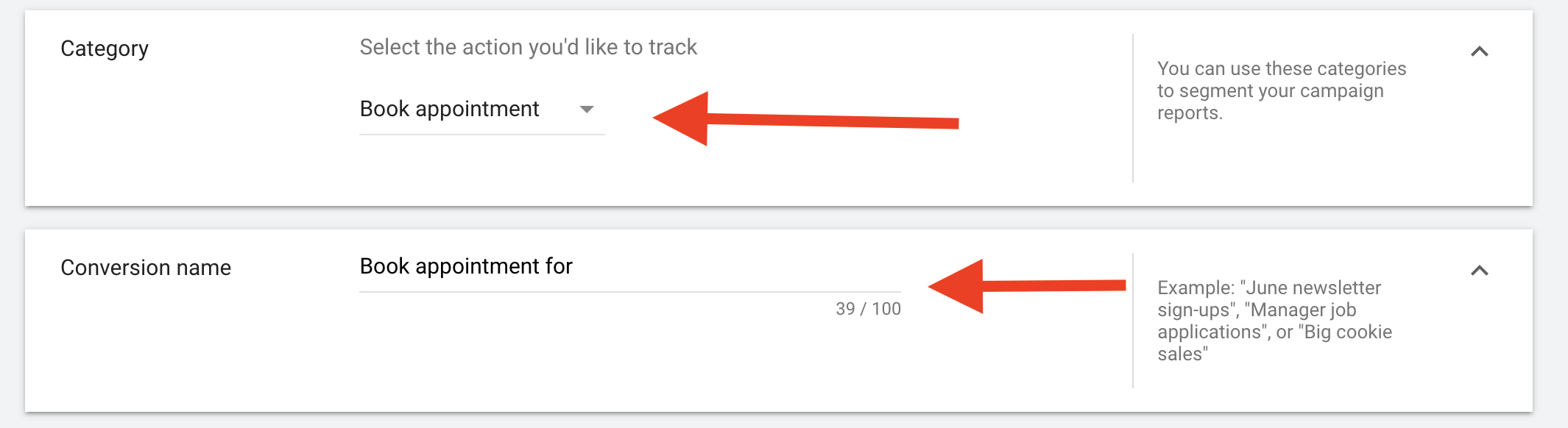 24 Selecting what you want to track within measurements