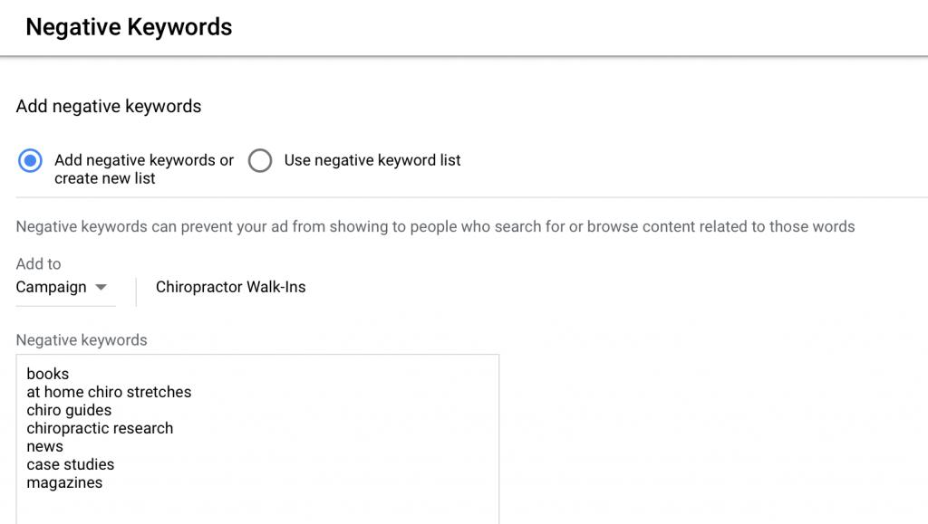 negative keywords list example