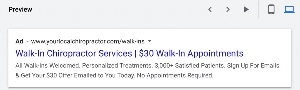 google ads for chiropractors dekstop ad preview