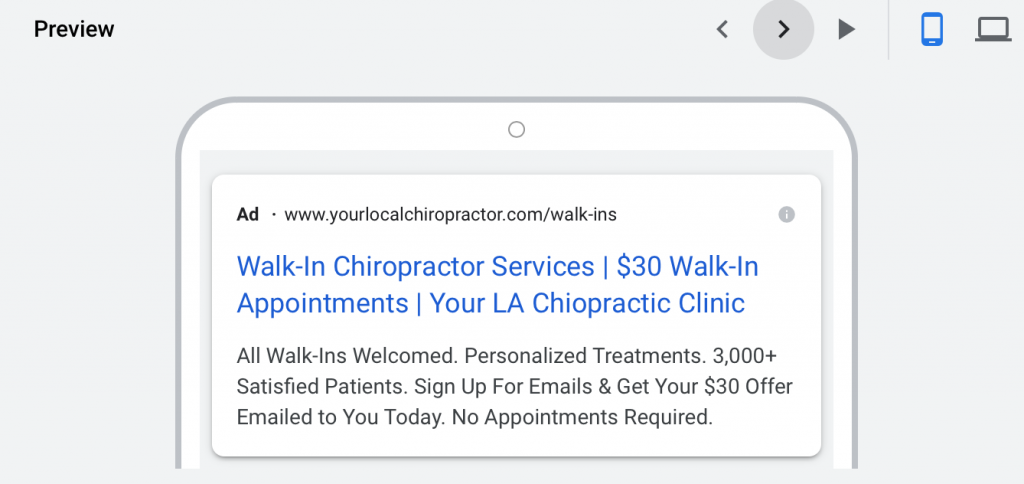 google ads for chiropractors mobile preview