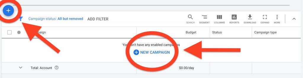 """to start Google ads for Chiropractors, select """"new campaign"""""""
