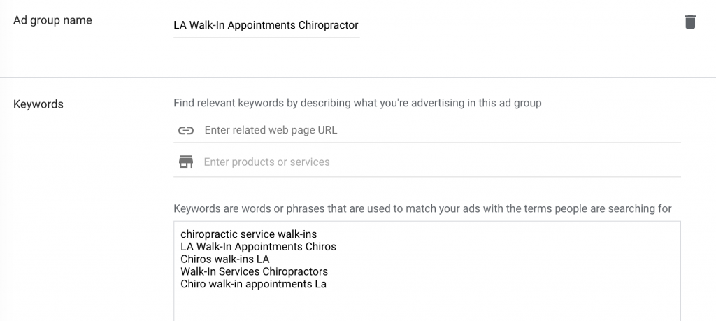 Google Ads for Chiropractors Ad Group Name and Keywords