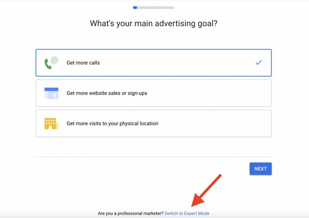1 Switch to expert mode for your google ads for family doctors campaign
