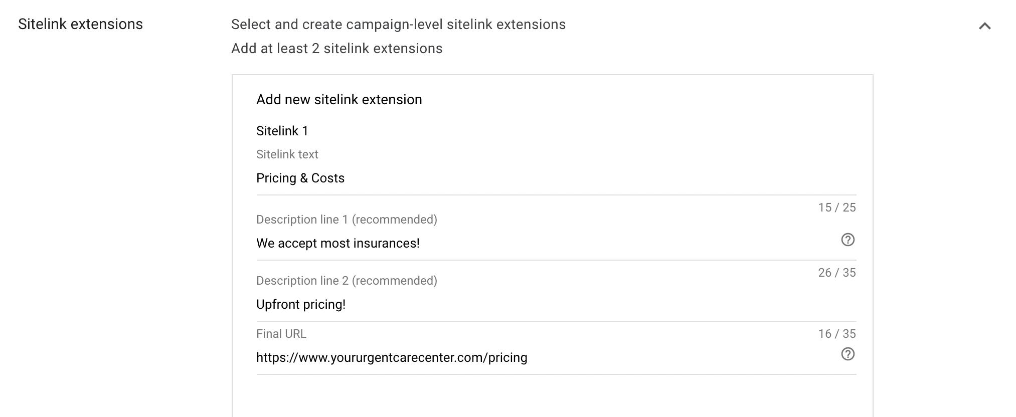14 Create sitelink extensions