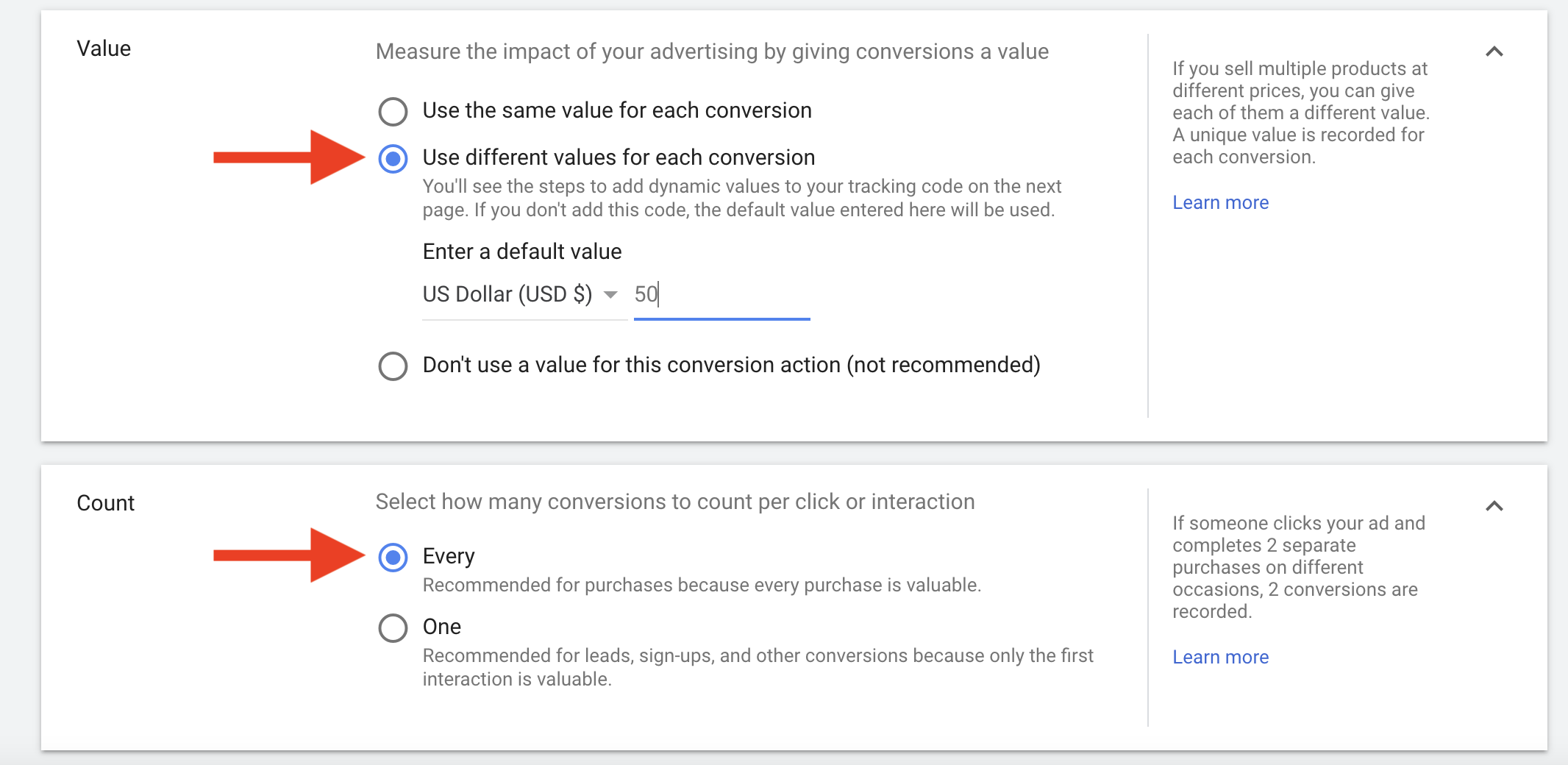 35 Enter in a value to each conversion