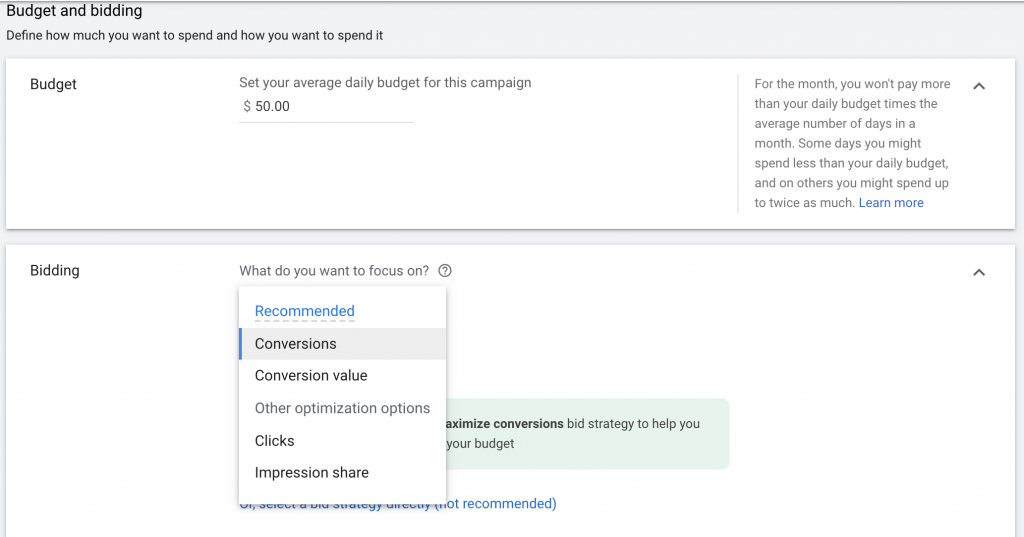 set budget for google ads for sports psychologist campaign and implement bidding startegy
