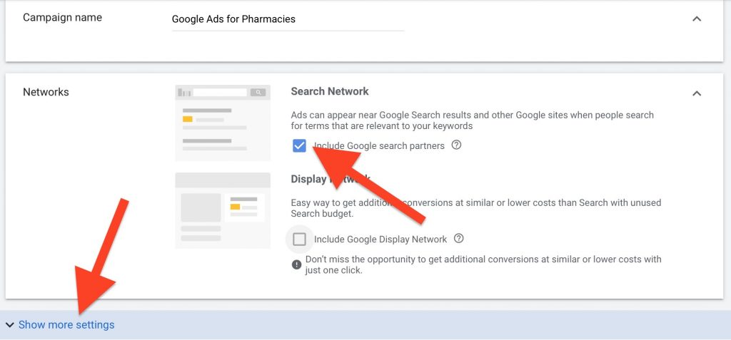 create google ads for pharmacies campaign name and deselect display networks