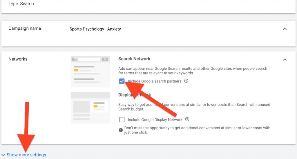 create a campaign name for your google ads for sports psychology
