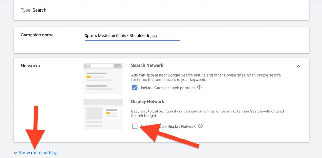 create campaign name and deselect display network