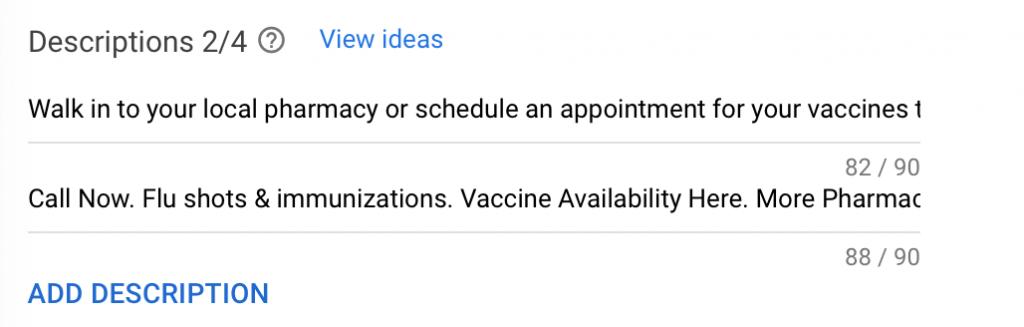 google ads for pharmacies description example