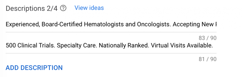 google ads for oncologists - hematologists ad description examples