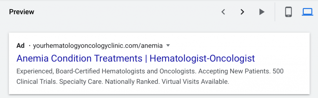 google ads for hematologists-oncologists desktop preview