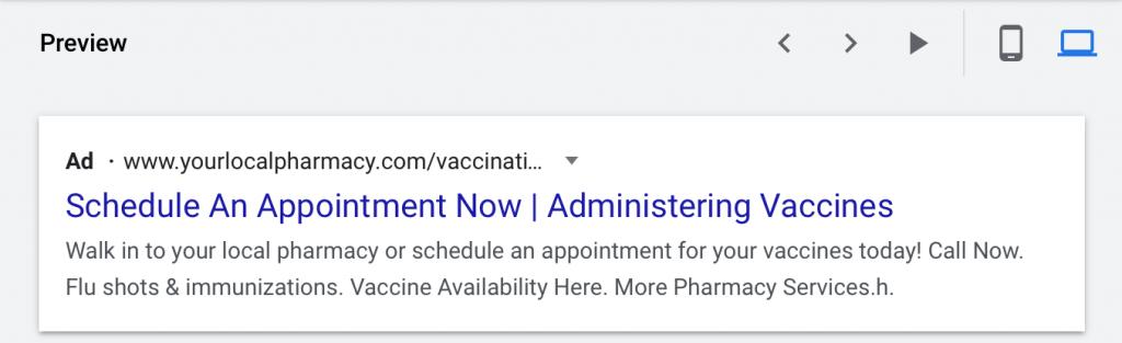 google ads for pharmacies desktop preview