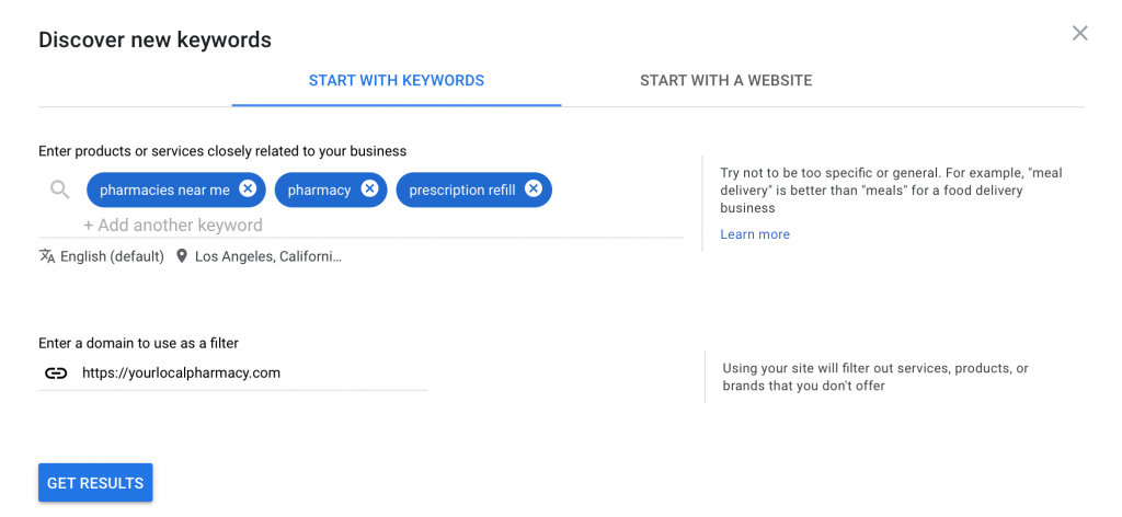 enter keywords you want to target, location, and domain website