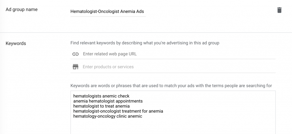 create an ad group name and enter keywords for your google ads for oncologists - hematologists campaign