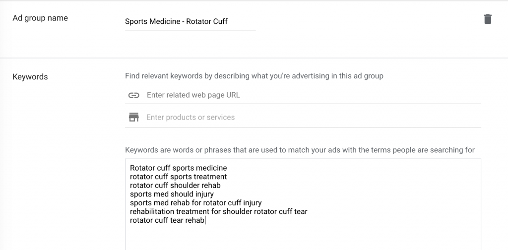 create ad group name and enter keywords for goofle ads for sports medicine marketing