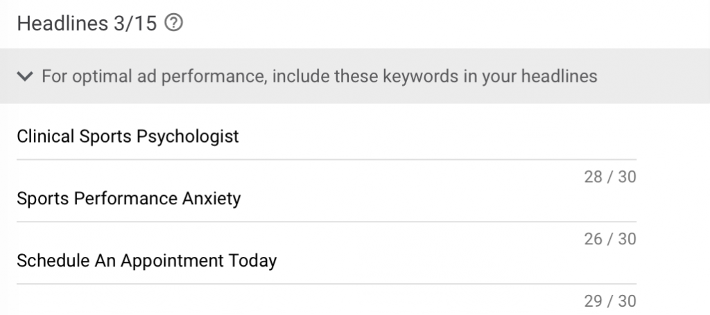 google ads for sports psychology ad headlines example