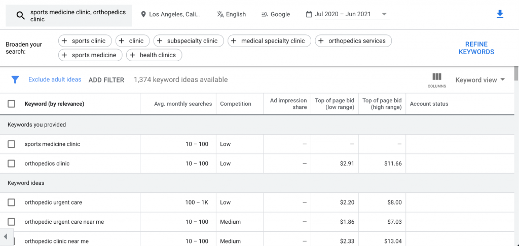 keyword ideas for your google ads for sports medicine marketing campaign