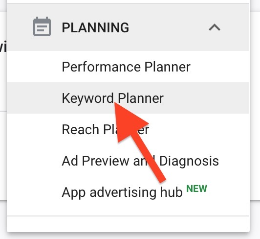 choose keyword planner to access tool