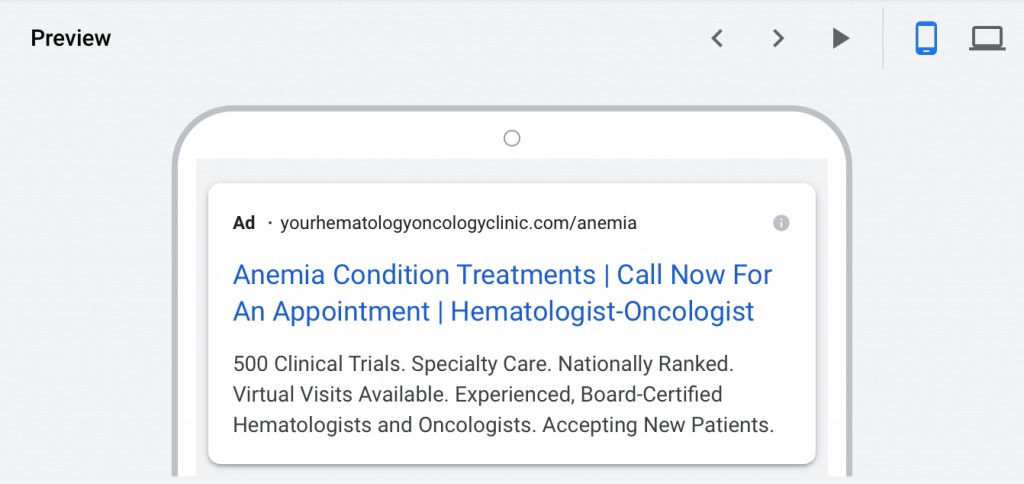google ads for hematologists-oncologists mobile device preview