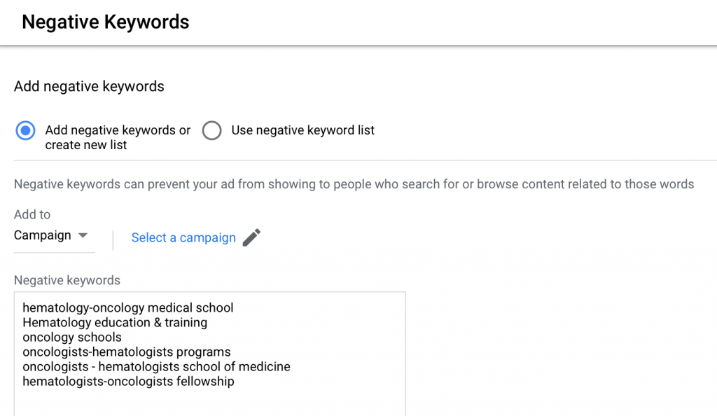 google ads for hematologists-oncologists negative keywords lists example
