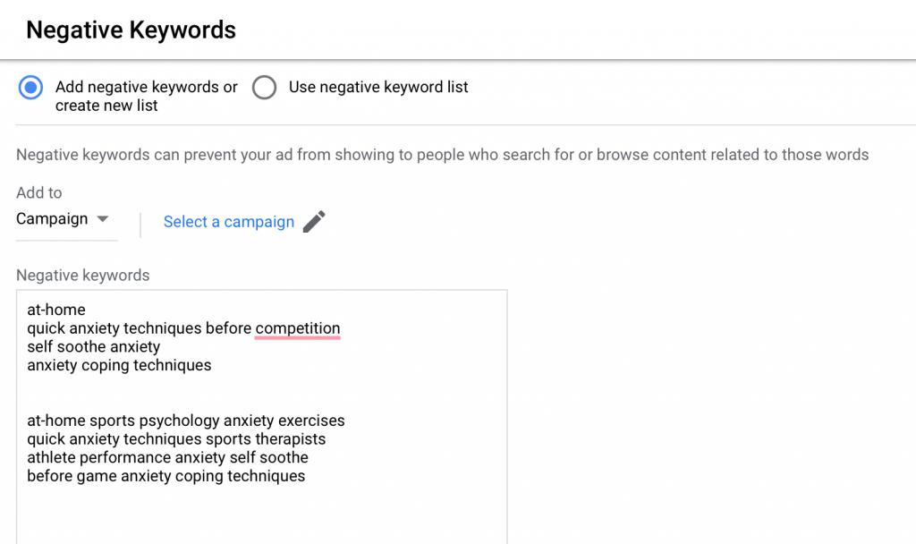 negative keywords list for google ads for sports psychology example