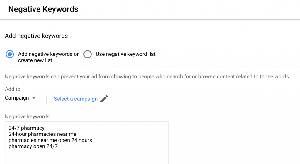 negative keywords list example for google ads for pharmacies