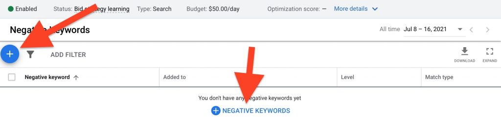 """click on plus sign """"negative keywords"""" to add to list"""
