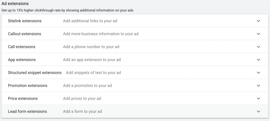 include ad extensions to add onto your ads