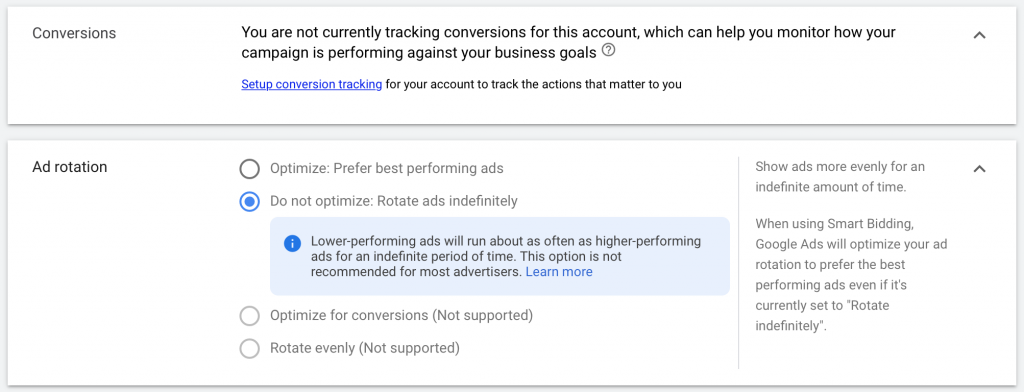 """set up conversion tracking and change ad rotation setting to """"do not optimize."""""""
