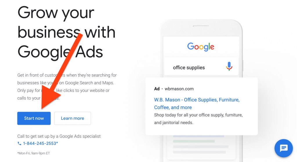select start now to create google ads account