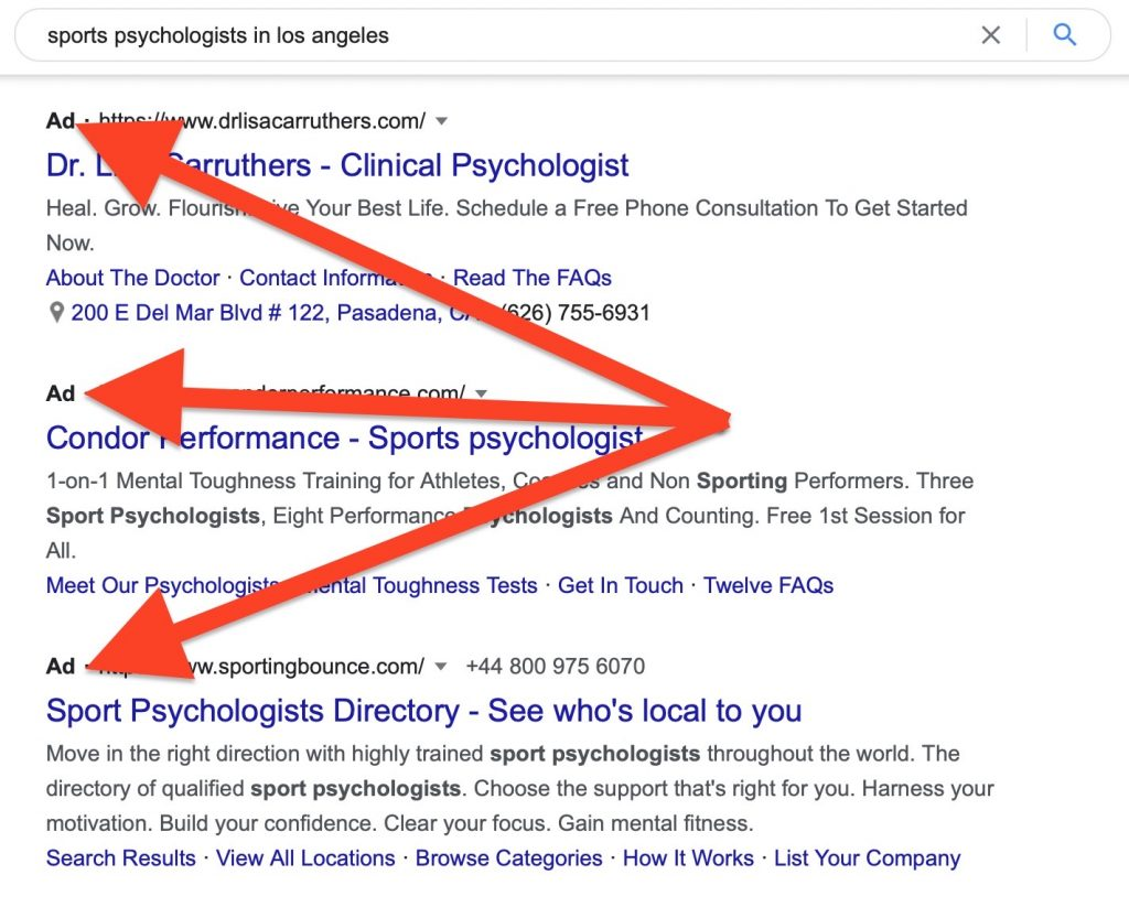 Google Ads that show up when you search for sports psychologists in la