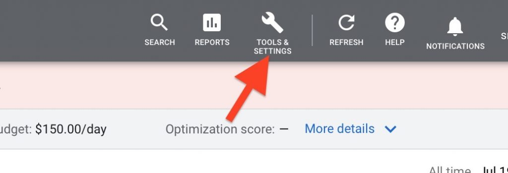 click on tools and settings in google ads