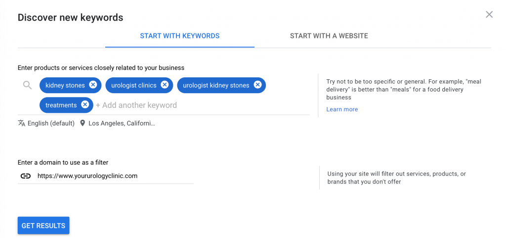fill out the keywords, location and website domain to get keyword suggestions